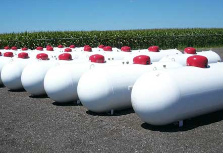 Propane tanks waiting to be installed by Yoder Oil in Eureka IL