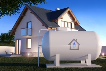 computer drawing of propane tank outside home